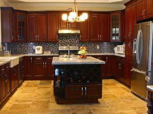 Cherry Raised Panel Kitchen Cabinets